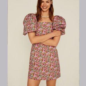 Mango Venice Floral Puff Sleeve Dress Size 6 NWT